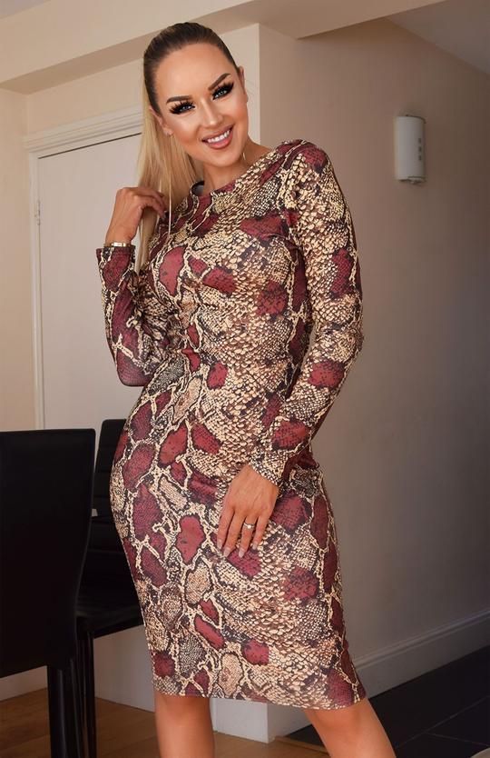 Snake Print Long Sleeve Bodycon Midi Dress