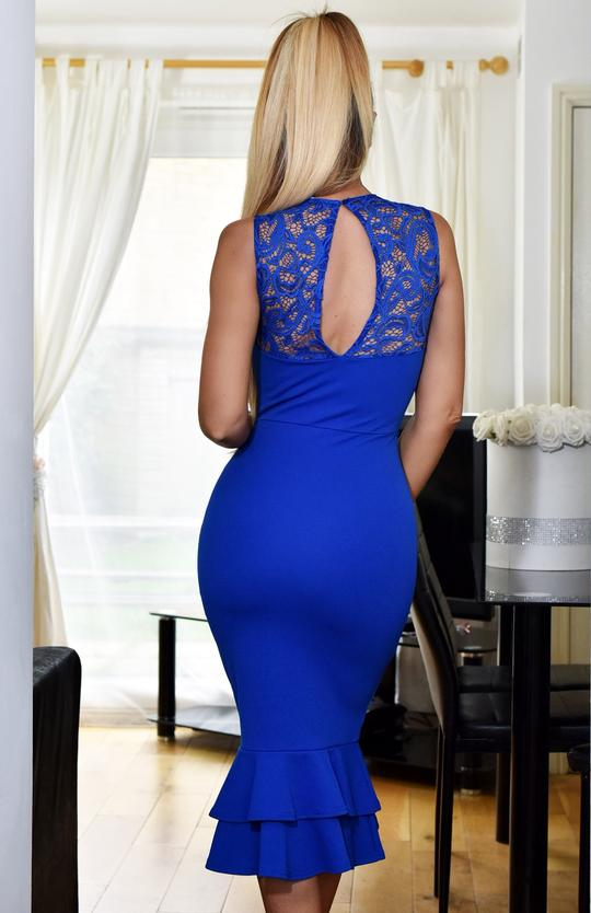 Blue Lace Insert Fishtail Bodycon Midi Dress
