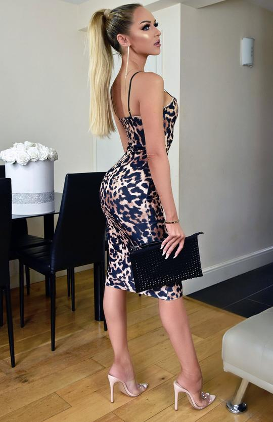 Slinky Leopard Print Bodycon Midi Dress