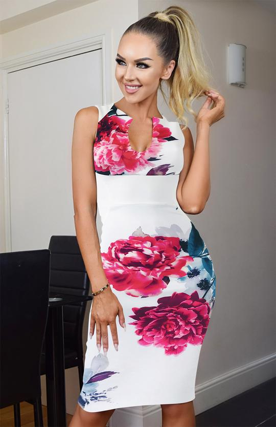 White & Pink Floral Illusion Dress