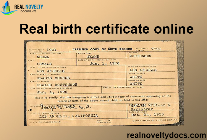 Real birth certificate online
