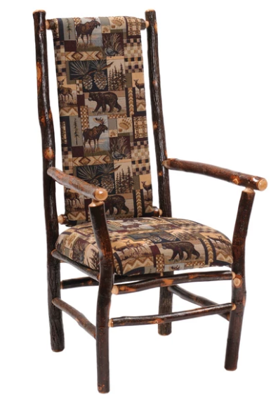 Buy Natural Hickory Log High-back Upholstered Arm Chair – Standard Finish