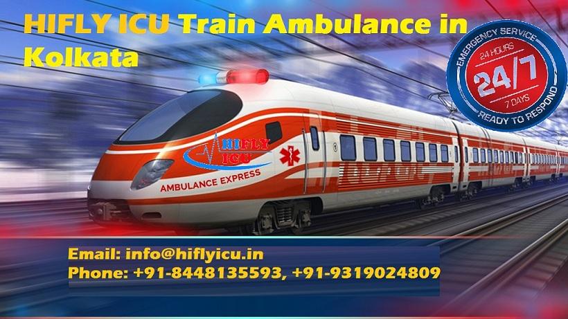 Hire HIFLY ICU Train Ambulance in Kolkata with Advance Life Support Facility